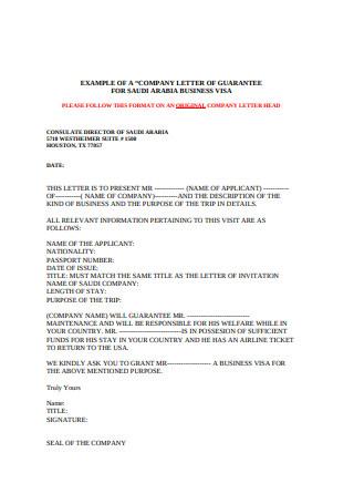 Company Letter of Guarantee