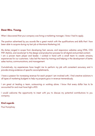 Company Marketing Manger Cover Letter