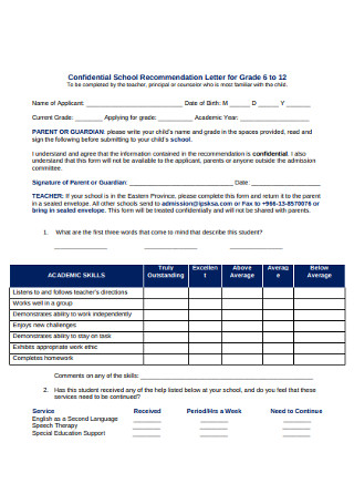 Confidential School Recommendation Letter for Grade
