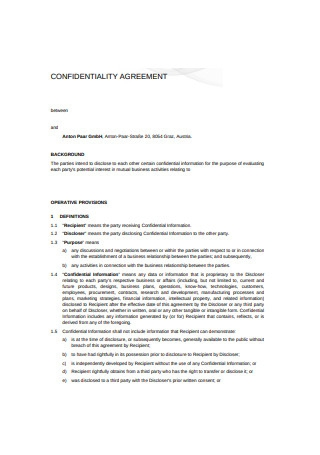 Confidentiality Agreement Format