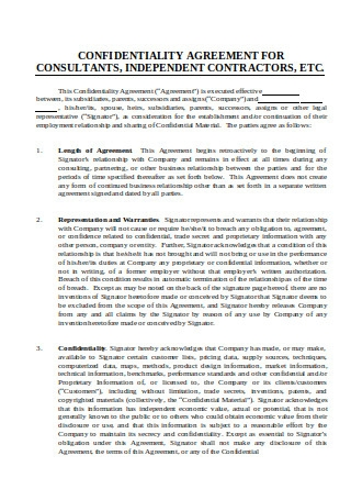 Confidentiality Agreement for Consultants