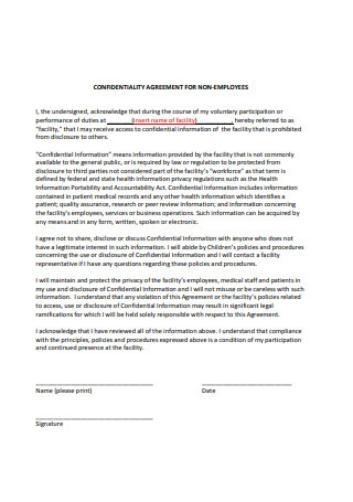 Confidentiality Agreement for Non Employees