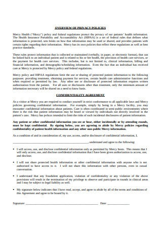Confidentiality Agreement for Visiting Students