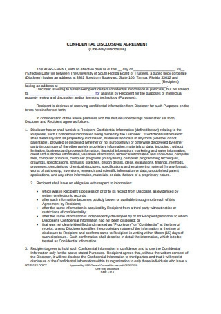 Confidentiality Disclosure Agreement1