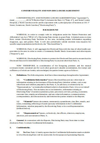Confidentiality and Non Disclosure Agreement Example