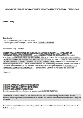 Conflict of Interest Resolution Letter