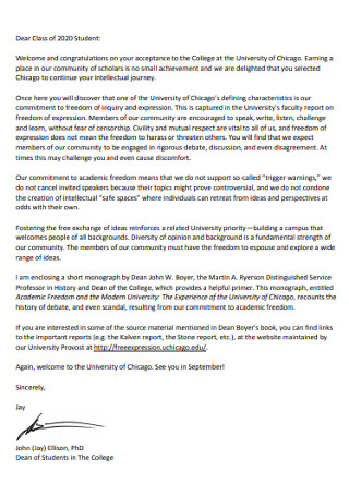 Congratulation New College Students Letter