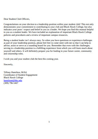 Congratulation for Student Club Officers Letter