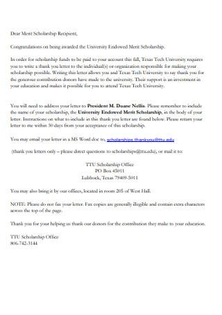 Congratulations on University Endowed Merit Scholarship Letter