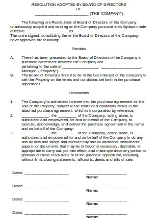 Consent Resolution of Board of Directors