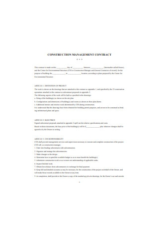 Construction Management Contract