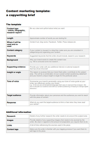 Content Marketing Brief Template