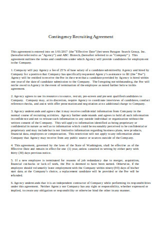 Contingency Recruiting Agreement