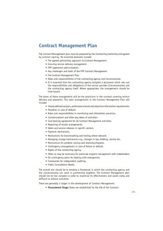 Contract Management Plan