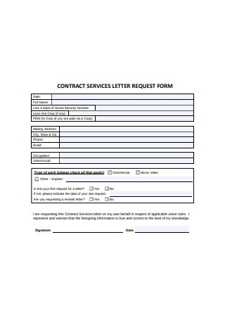Contract Services Letter Request Form