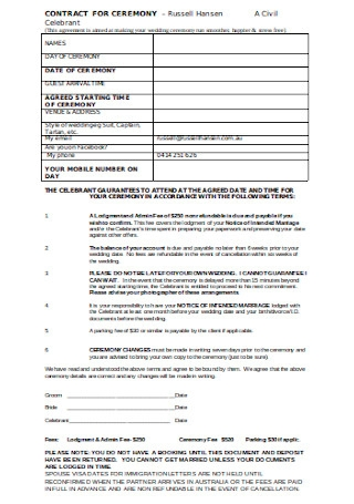 Contract for Ceremony