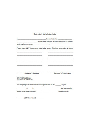 Contractor's Authorization Letter