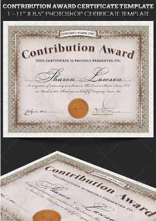 Contribution Award Certificate