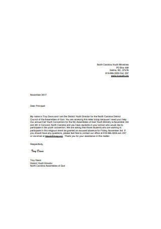 Convention School Absence Excuse Letter
