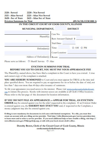 Cook Eviction Notice Form