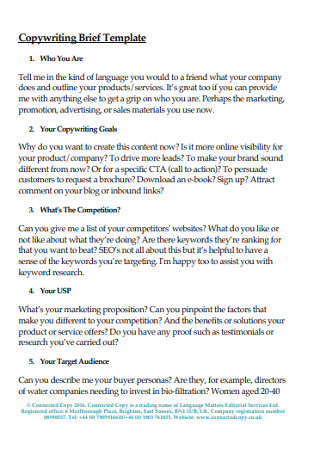 Copywriting Brief Template