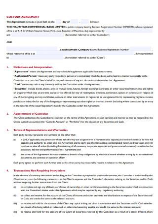 Corporate Custody Agreement