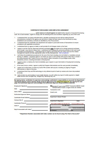 Corporate Purchasing Card Employee Agreement
