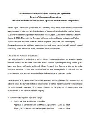 Corporation Split Agreement