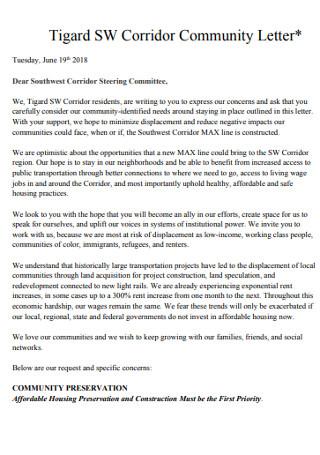 Corridor Community Recommendation Letter