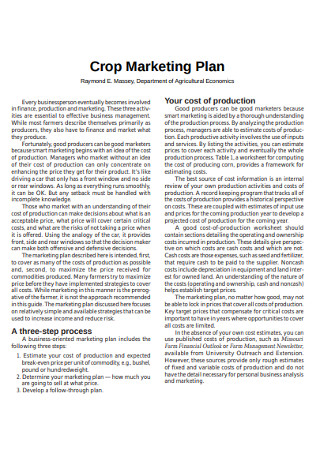 Crop Marketing Plan