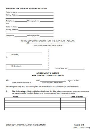 Custody and Visitation Agreement
