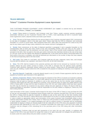 Customer Premise Equipment Lease Agreement