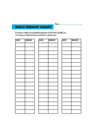 Daily Weight Chart Format