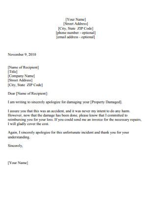 Damaged Property Apology Letter