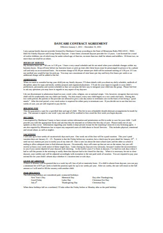 Daycare Contract Agreement