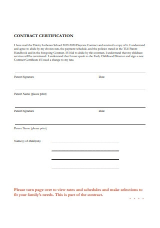 Daycare Contract Certification