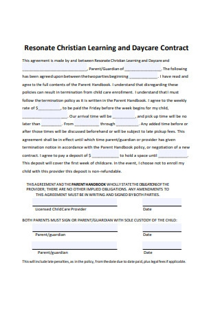 Daycare Contract Format