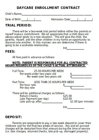 Daycare Enrollment Contract