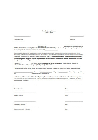 Daycare Tuition Contract