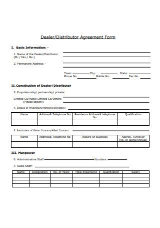 Dealer Agreement Form