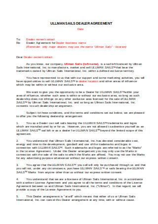 Dealer Agreement Letter