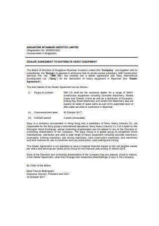 Dealer Agreement To Distribute Heavy Equipment
