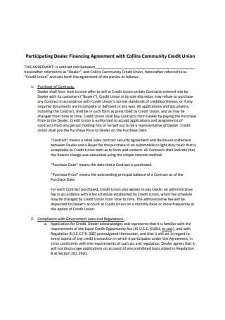 Dealer Financing Agreement