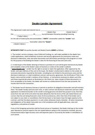 Dealer Lender Agreement
