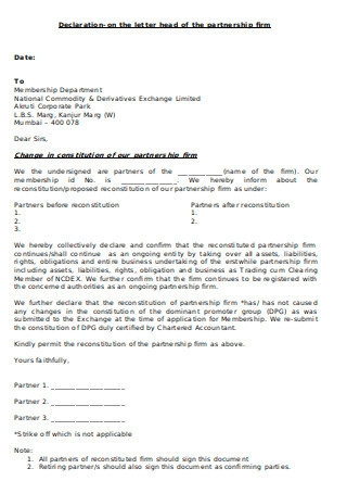 Declaration Letter of Partnership Firm