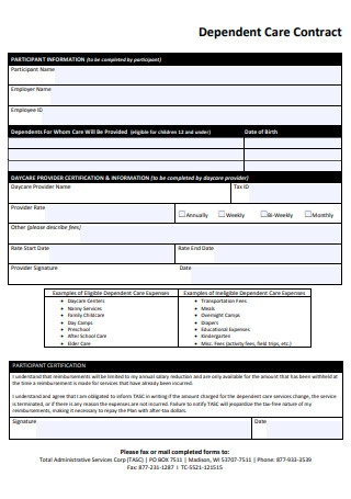 Dependent Care Contract Form