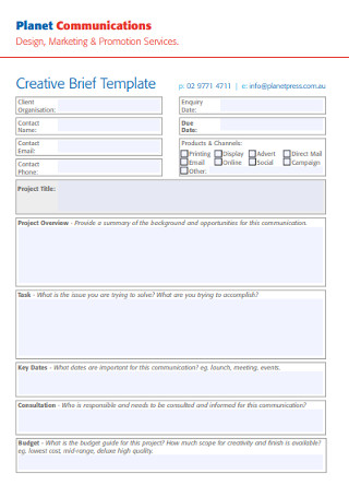 Design Creative Brief Template