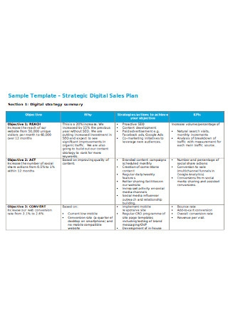 Digital Sales Plan Sample Template