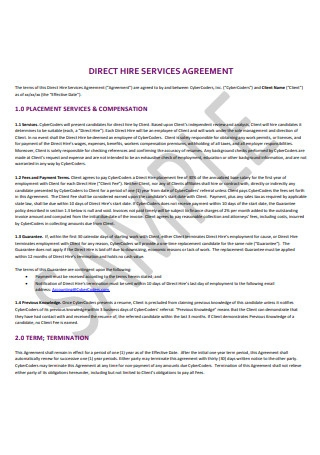Direct Hire Services Agreement