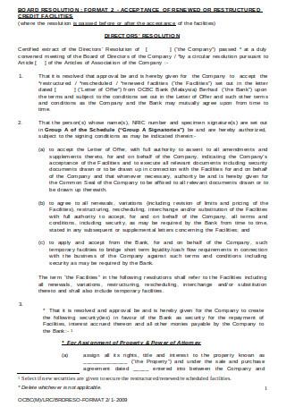 Directors Resolution Letter